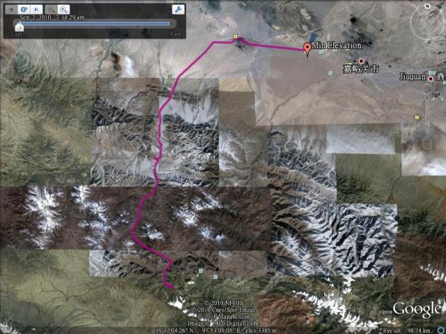 从嘉峪关去七一冰川的线路